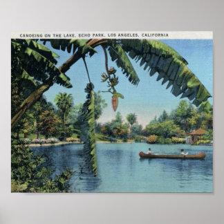 Canoeing, Echo Park, Los Angeles Vintage Poster