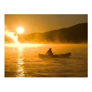 Canoeing in Lily Bay at sunrise, Moosehead Lake, Postcard