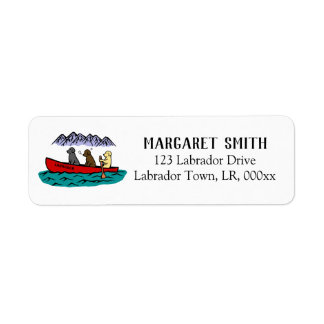 Canoeing Labrador Retrievers in the Mountain Return Address Label