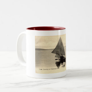 Canoeing on Lake Chatauqua New York 1905 Vintage Two-Tone Coffee Mug