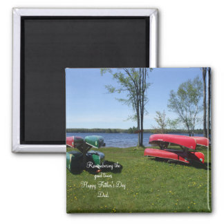 Canoes on Beach Square Magnet