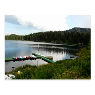 canoes on lake 2 postcard