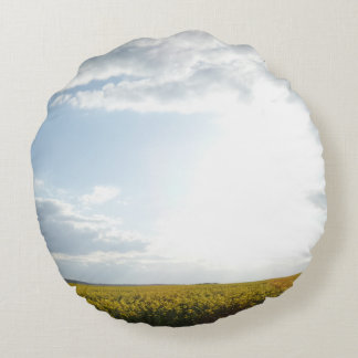 Canola Field & Cloudy Sky Round Pillow