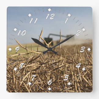 Canola Harvest Square Wall Clock