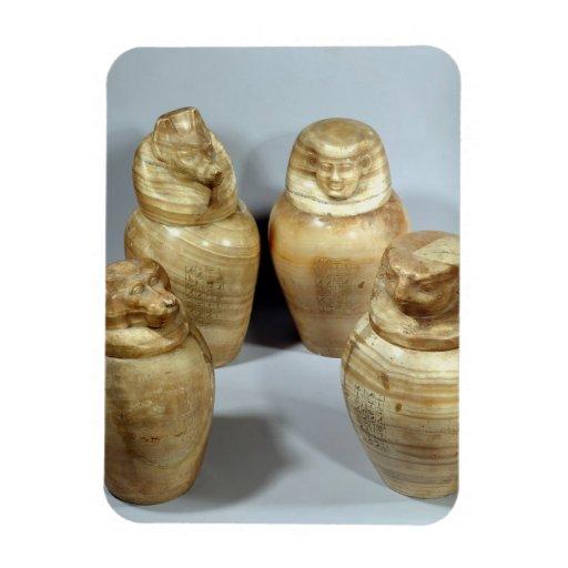 Canopic jars of Hor-ir-aa, Saite (alabaster) Rectangular Magnets