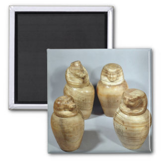 Canopic jars of Hor-ir-aa, Saite (alabaster) Square Magnet