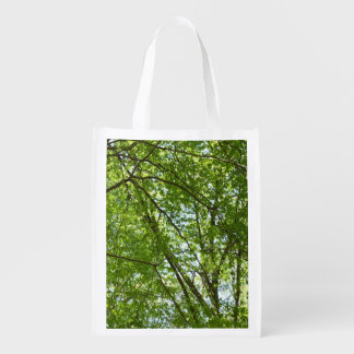 Canopy of Spring Leaves Green Nature Scene Reusable Grocery Bag