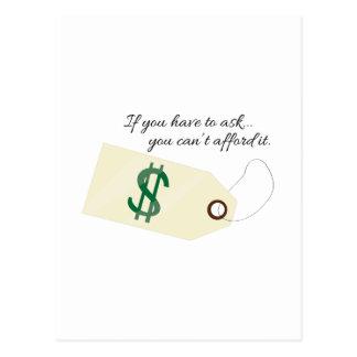 Cant Afford It Postcard