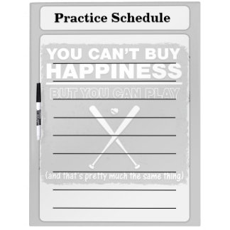 Can't Buy Happiness Baseball Dry Erase White Board