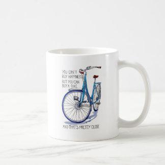 Can't buy happiness, blue bike coffee mugs