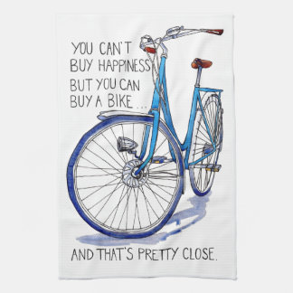 Can't buy happiness, blue bike tea towel