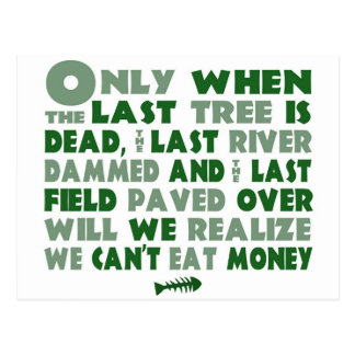 Can't Eat Money Postcard