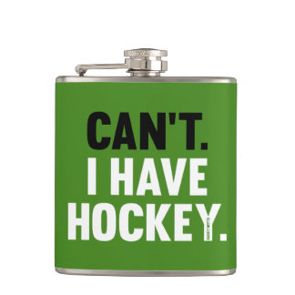 Can't I Have Hockey Funny Excuse Green Hip Flask