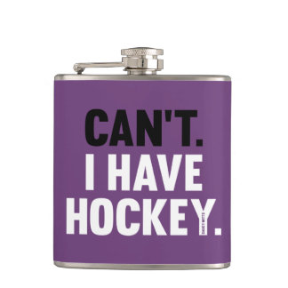 Can't I Have Hockey Funny Excuse Purple Hip Flask