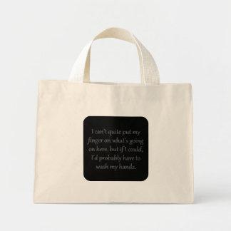 Can't put my finger on it (sq) mini tote bag