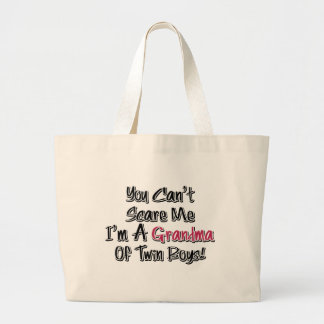Can't Scare Me Grandma of Twin Boys Cute Quote Jumbo Tote Bag
