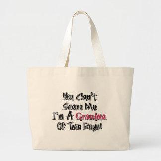 Can't Scare Me Grandma of Twin Boys Cute Quote Tote Bag