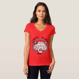 Can't Tame Tiger Ladies Jersey V-Neck T-Shirt