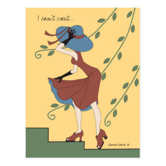 Can't wait to see you girl in rust dress postcard