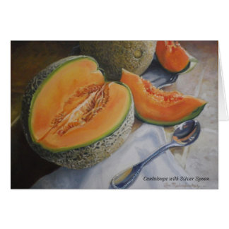 Cantaloupes with Silver Spoon Note Card