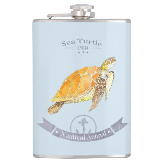 Canteen Turtle-navy | Sea Turtle Hip Flask