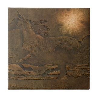 Cantering Wild Spirited Horse Faux Leather-effect Small Square Tile