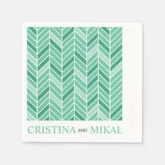 Cantilevered Chevron Cocktail Party | mint green Paper Napkin