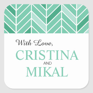 Cantilevered Chevron Favor | mint green Square Sticker