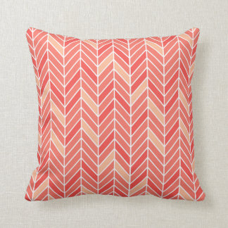 Cantilevered Chevron narrow | peach Throw Pillow