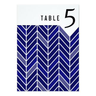 Cantilevered Chevron Table Numbers   navy blue 13 Cm X 18 Cm Invitation Card
