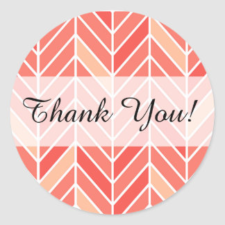 Cantilevered Chevron Thank You | peach Classic Round Sticker