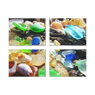 Canvas Art Panels Coastal Beach Sea Glass Seaglass Gallery Wrapped Canvas