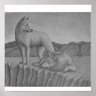 Canvas Art Print. Dingos also (warrigal) wolf-like
