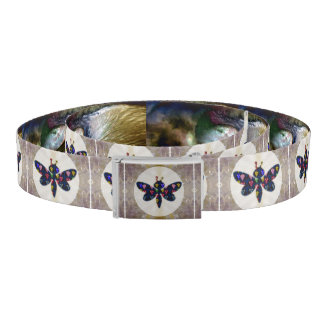 Canvas Belt Metal tin buckle Graphic dragonfly fly