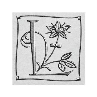 Canvas Monogram Letter L ~ Silver ~ L O V E