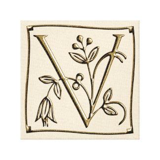 Canvas Monogram Letter V ~ Gold ~ L O V E