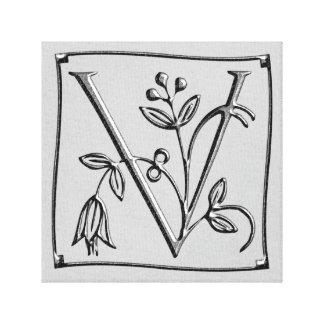 Canvas Monogram Letter V ~ Silver ~ L O V E