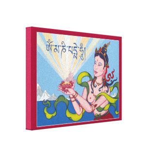 CANVAS - Offering Goddess with Tibetan Mantra Canvas Print