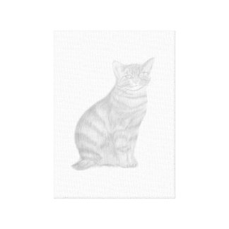 Canvas Premium drawing of Black and White Cat