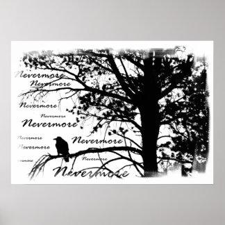 Canvas Print - B&W Nevermore Raven Silhouette