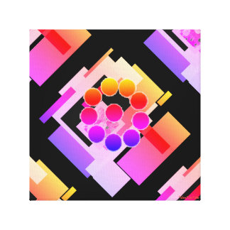Canvas Print Black pink white peach multi