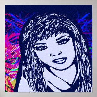 Canvas Print Blue Pop Art Girl