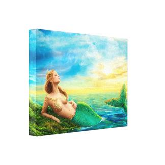 Canvas Print Fantasy mermaid on sunset