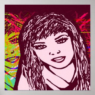 Canvas Print Pink Pop Art Girl