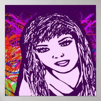 Canvas Print Purple Pop Art Girl