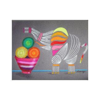 Canvas Print--Rainbow Elephant & Bowl of Fruit Canvas Print