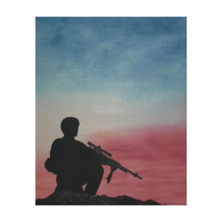 Canvas Print Soldier on Mountaintop with Sunset