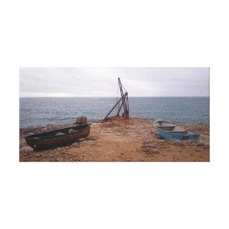 Canvas Rustic Boat Seascape Taken in Portland, UK