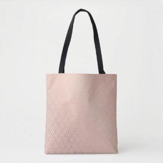Canvas Shopper Bag Rose Gold Geometric
