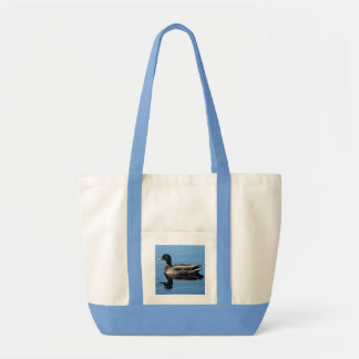Canvas tote bag, grocery bag with duck on water